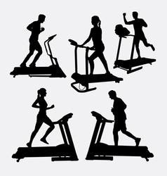 Treadmill sport training silhouette vector