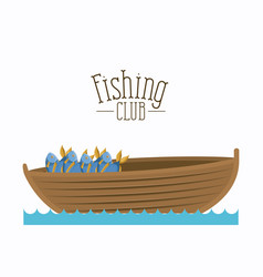 White background boat with bucket full of fish and vector