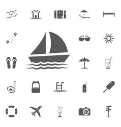 yacht icon summer set vector image vector image