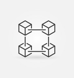blockchain technology outline icon vector image