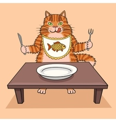 Hungry cat wants to eat vector image