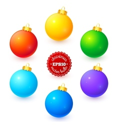 Rainbow colors Christmas balls set vector image vector image