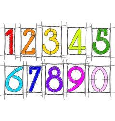 scribble numbers vector image vector image