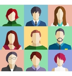 Set of People Faces Avatars Flat Icons vector image