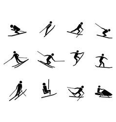 ski icons set vector image vector image