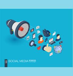 social media integrated 3d web icons growth and vector image vector image