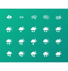 Weather icons on green background vector