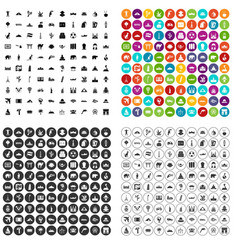 100 world tour icons set variant vector