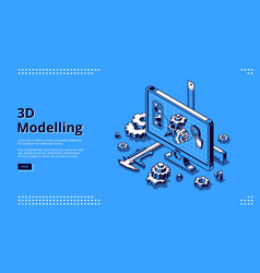 3d modelling isometric landing page cad model vector