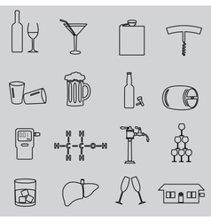 Alcohol simple outline black icons set eps10 vector