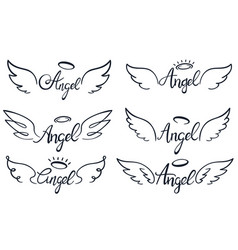 angel wings lettering heaven wing heavenly vector image