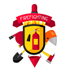 badge with firefighting items fire protection vector image