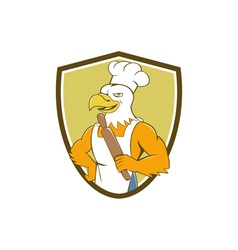 Bald Eagle Baker Chef Rolling Pin Crest Cartoon vector image