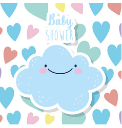 bashower cute blue cloud hearts love decoration vector image