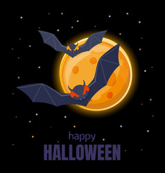 bats flying in night sky on background of vector image