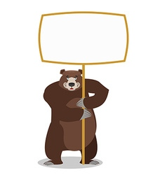 Bear and empty banner wild animal and blank beast vector