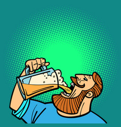Bearded man drinking a mug of beer vector
