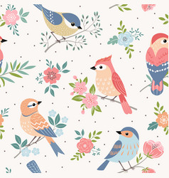 Bird pastel pattern vector