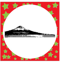 black 8-bit mount fuji at lake kawaguchiko vector image