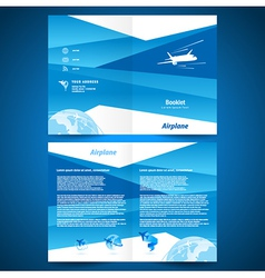 brochure folder airplane flight transportation vector image
