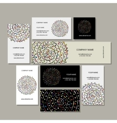 Business cards collection floral mandala design vector image