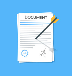 business document attached by an arrow to the wall vector image