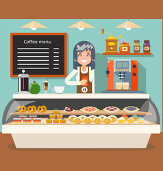 Cafe coffee shop woman business interior female vector