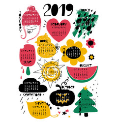 Calendar 2019 with funny vector