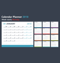 Calendar planner for 2018 starts monday vector