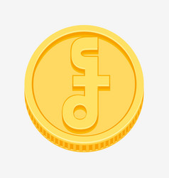 Cambodian riel symbol on gold coin vector
