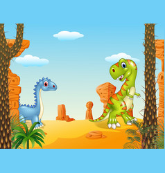 Cartoon funny dinosaur collection with prehistoric vector image