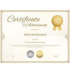 Certificate achievement template gold vector