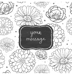 Chalk flowers blackboard frame seamless pattern vector