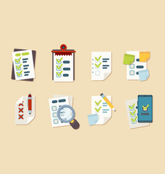 checklist icons notepad schedule customer marks vector image