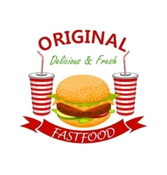 Cheeseburger with soda drink fast foodd emblem vector