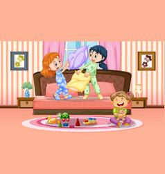 children playing in bedroom scene vector image