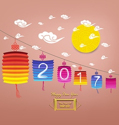 Chinese Lantern happy new year 2017 vector
