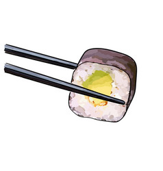 chopsticks holding sushi vector image vector image