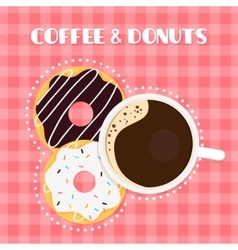 Coffee and Donuts on Checked Table Cloth vector