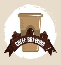 coffee brewing disposable coffee cup grains vector image