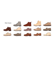 collection of modern and stylish men s footwear vector image