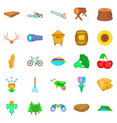 country life icons set cartoon style vector image