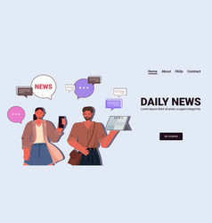 couple reading and discussing daily news chat vector image