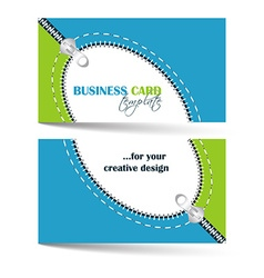 Creative business card template with zip arc vector