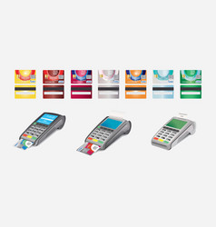 credit card icon and pos terminal isolated on vector image