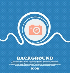 Digital photo camera sign icon Blue and white vector image