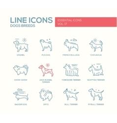 Dog breeds - line design icons set vector