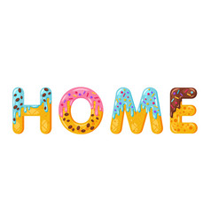 donut cartoon home biscuit bold font style vector image
