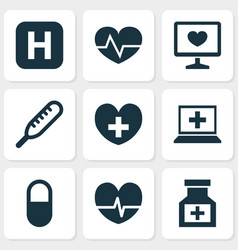 drug icons set with heart computer medicine and vector image