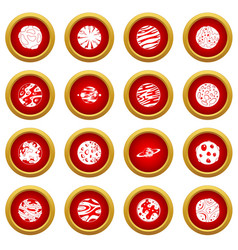 Fantastic planets icon red circle set vector